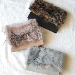 🍒NWT🍒 TED BAKER LEATHER FAUX FUR BAG/CLUTCH